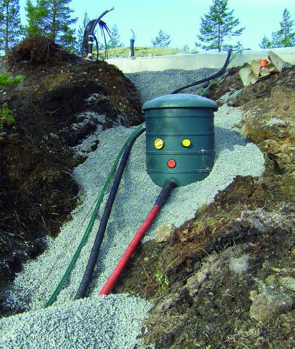 trykkavløpssystem i skråning ved hytte